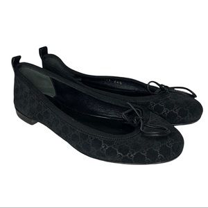 GUCCI GG Embossed Suede Ballerina Flats Size 34.5